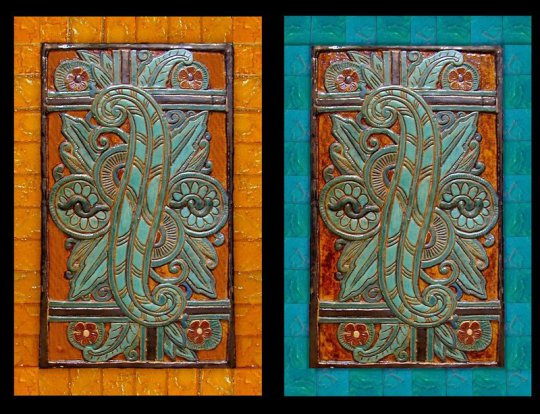 Art deco assortment stonelight tile custom mural for Art deco tile mural